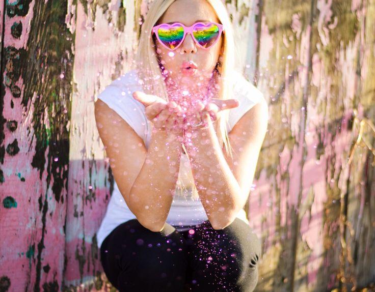 Heart sunglasses + glitter = perfection!! Valentine's Day inspired shoot