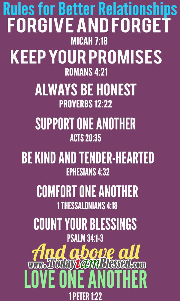 ♥ Bible Verses ♥ Rules for Better Relationship ♥ (Makes me think of building a positive professional and student culture/relationships in schools!)