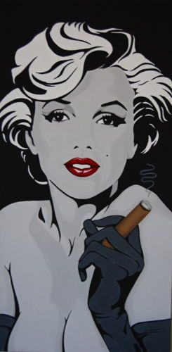 """Marilyn Monroe with Cigar Custom Painting Original 15"""" x 30"""" Eclectic Cool 