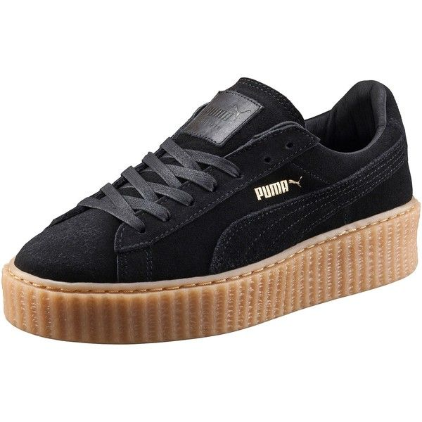 PUMA BY RIHANNA CREEPER ($120) ❤ liked on Polyvore featuring shoes, creeper platform shoes, suede shoes, laced up shoes, platform shoes and cat print shoes