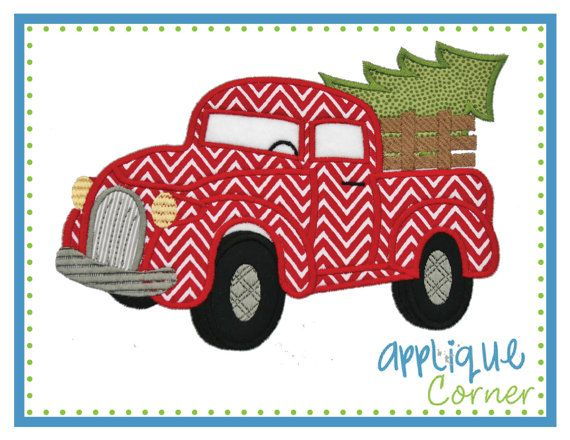 INSTANT DOWNLOAD Antique Truck with Christmas Tree applique design in digital format for embroidery machine by Applique Corner