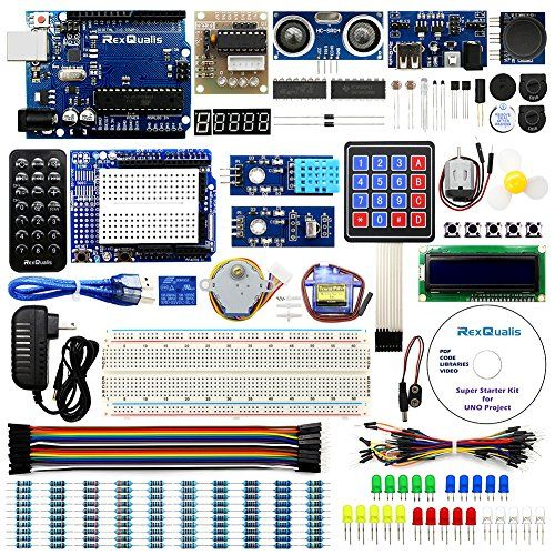UNO Project Super Starter Kit for Arduino w/ UNO R3 Development Board, LCD1602, Membrane Switch, Servo, Stepper Motor, Joystick, Power Supply Adapter, DHT11, IR Receiver, Detailed Tutorial - RexQualis UNO R3 Starter Kit provides an open-source electronics prototyping platform based on flexible, easy-to-use hardware and software.The most essential parts in this kit are UNO R3 controller board and expansion board, which is a perfect Arduino clone with excellent product finish. Besides,...