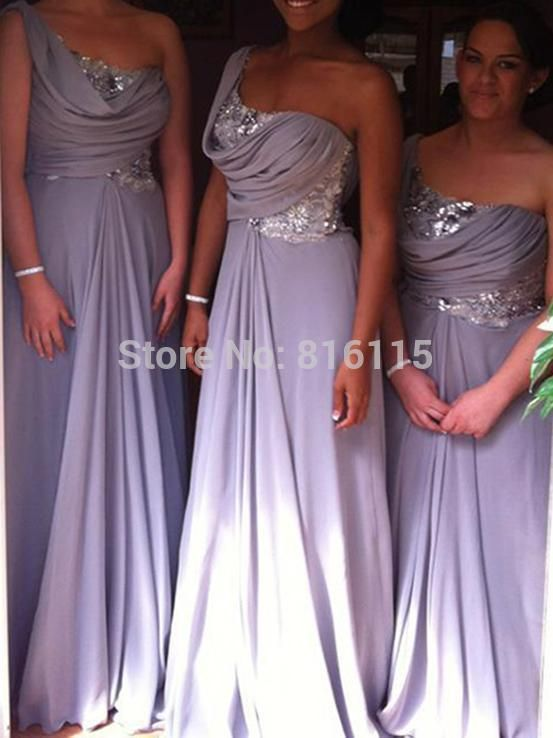 В продаже светло-фиолетовый платья для подружек невесты с новый блестками шифон одно плечо лаванда платья невесты