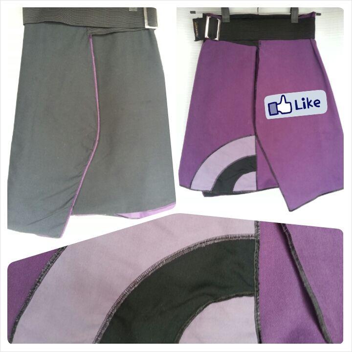 #Falda reversible Lleváte 2 al precio de 1! $100 negra y lila 1 metro y 15 cm de tela de ancho 53 cm de largo Cinturón elástico de 88 cm de largo.