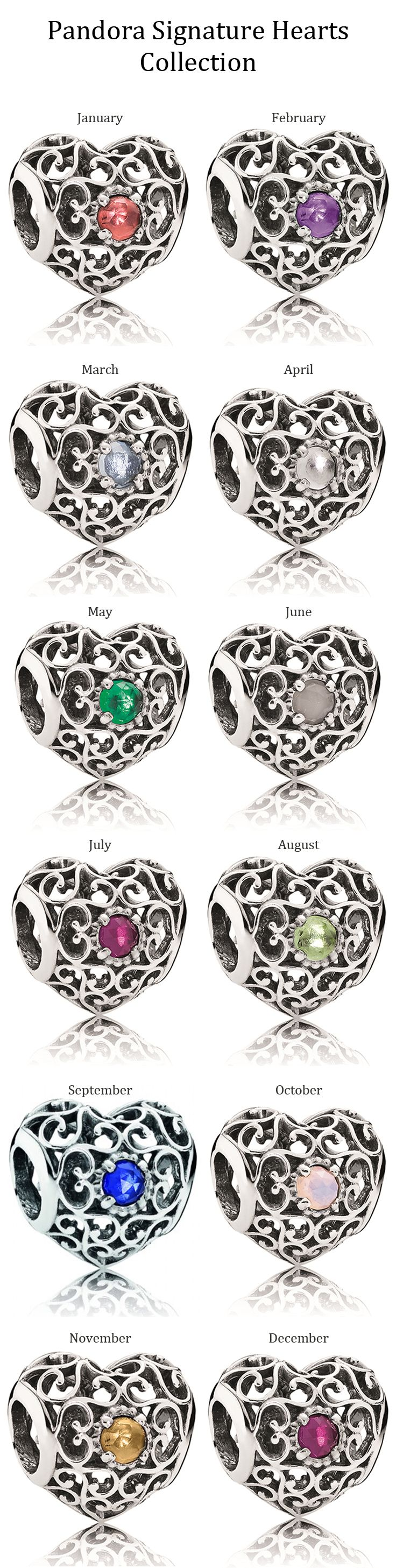 Pandora Signature Hearts Collection set with birthstones... April August November
