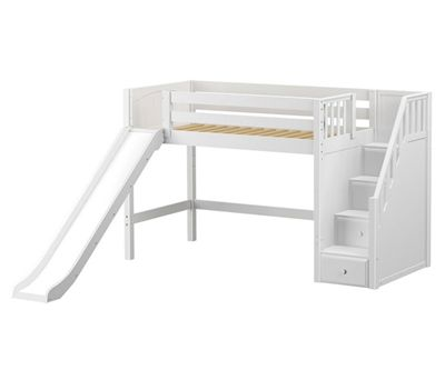 twin loft bed with stairs that double as storage ans a slide! Great idea for the play room. The top would make a cozy reading area.