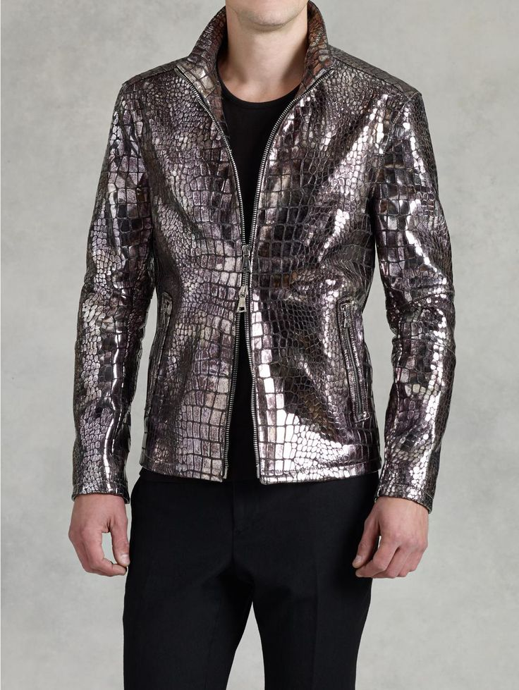 Metallic Croc Jacket - John Varvatos