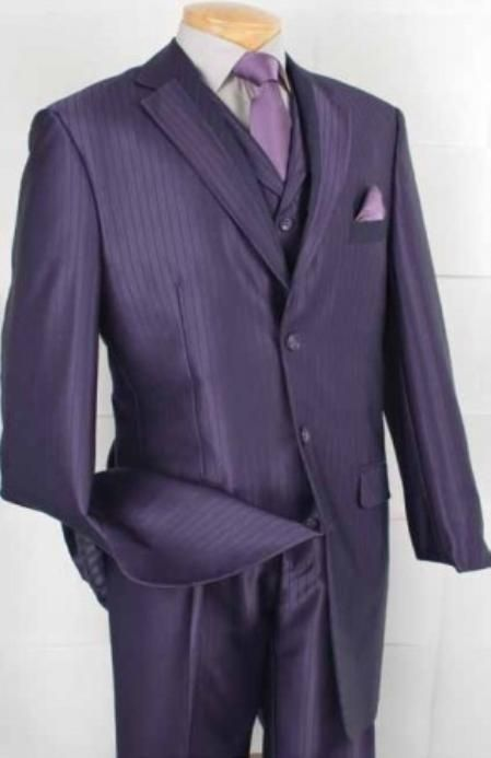 pink and purple mens suits | SKU#ML2911 Men's 3-Button Pinstripe Fashion Suit - Purple $149 Mens ...if girls have some stripe details, have the men wear pinstripe jacket