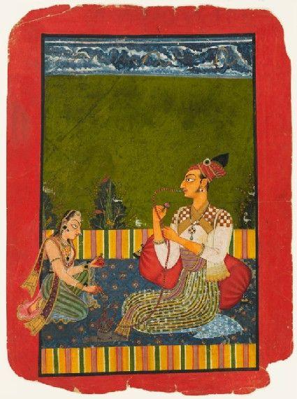 Style: Pahari; Type: Royal portraiture; Title: 'Maharaja Medini Pal smoking a hookah', Basohli, c. 1730