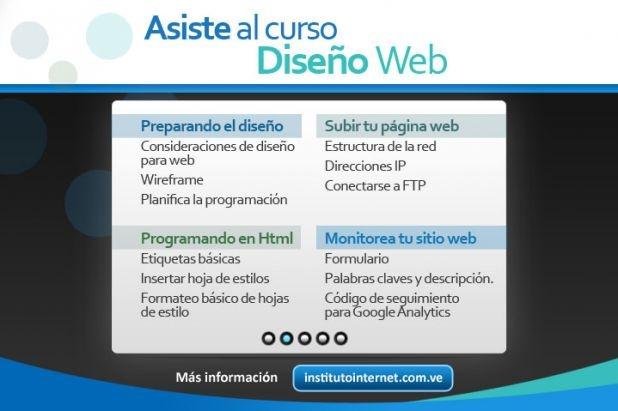 Conoce el programa de nuestro curso de Diseño Web. ¿Interesado? contáctanos por institutointernet.com.ve