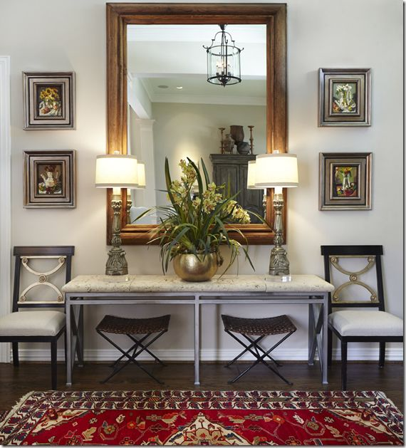 Benjamin Moore Healing Aloe - neutral entry with bold rug for pop of color