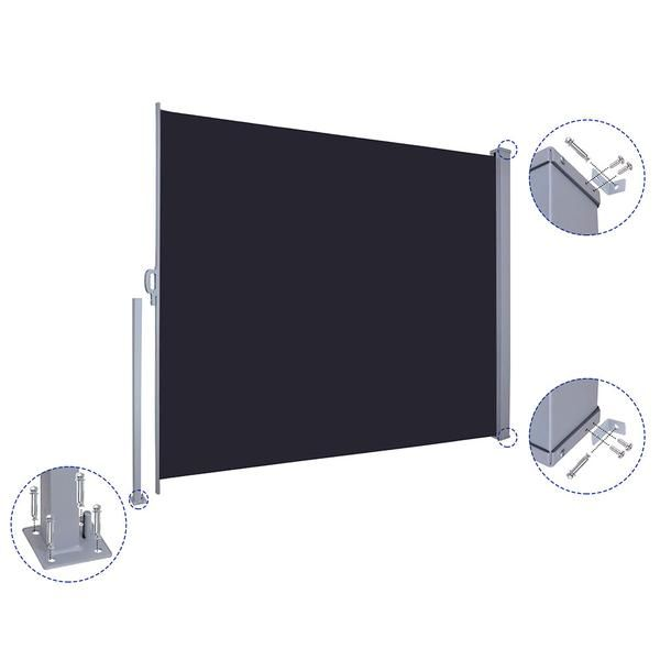 Thelashop 63 X 118 Patio Retractable Side Awning Privacy Divider Screen In 2020 Wind Screen Divider Screen Tent Storage