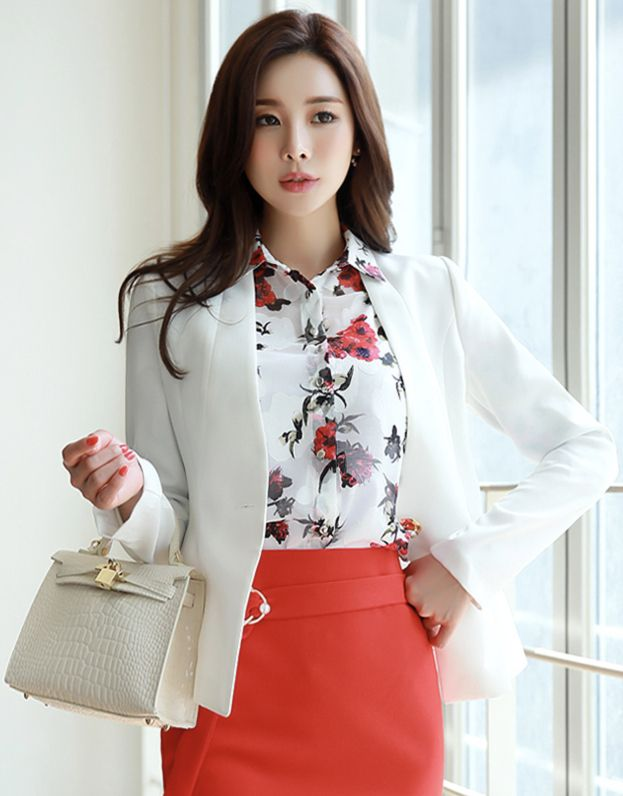 StyleOnme_Pearl Gold Button Collarless Peplum Jacket #pearl #peplum #jacket #feminine #officelook
