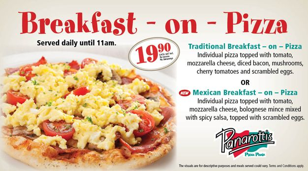Breakfast on pizza at Panarottis is new and is BIG on the family - just as Panarotti's breakfast pizza is big