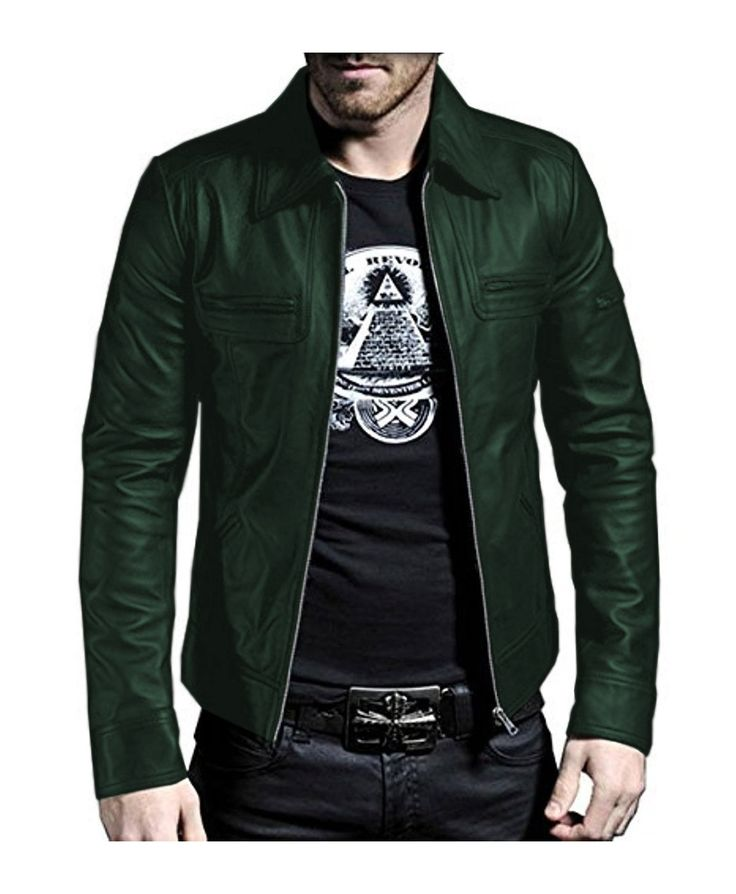 Laverapelle Men's green Genuine Lambskin Leather Jacket - 1510200 - Custom Size