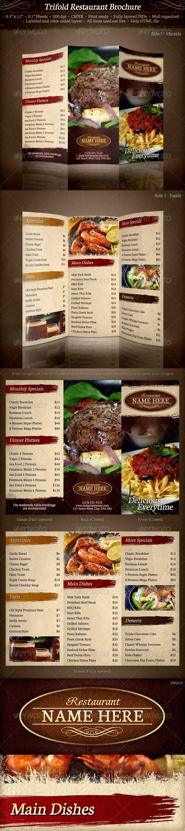 TriFold Restaurant Brochure Template - Food Menus Print Templates Download here : http://graphicriver.net/item/trifold-restaurant-brochure-template/336772?s_rank=1509&ref=Al-fatih