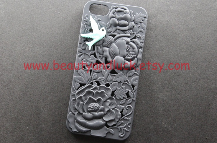 iphone 5 case cover, Vintage blue bird in Victoria peony , floral iphone case, black flower hard case for iphone 5 case,  iphone 5 Hard Case. $12.99, via Etsy.