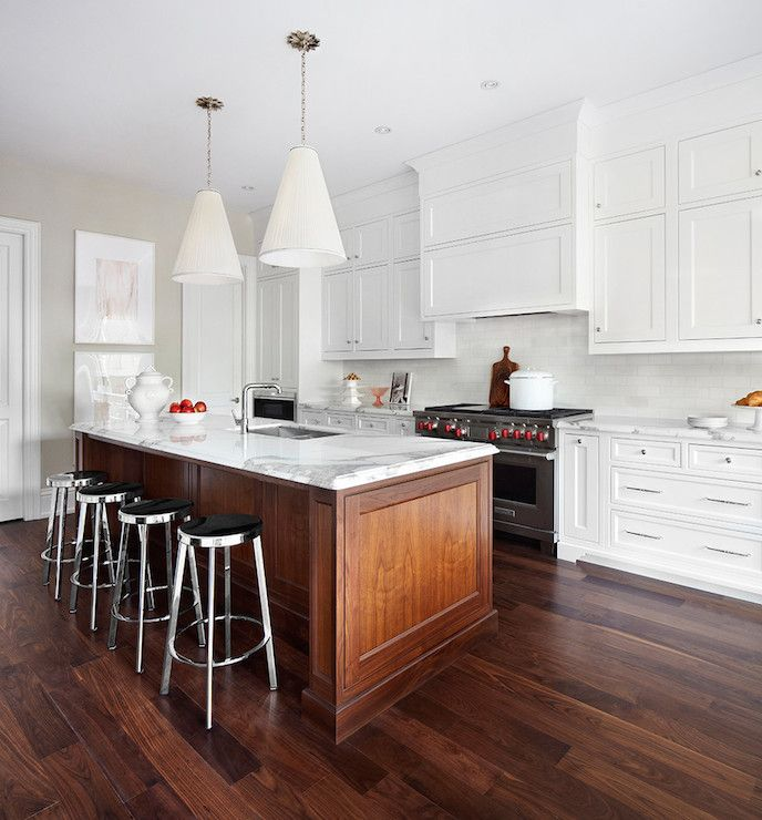Kitchen Cabinets Island Shelves Cabinetry White Walnut: Clean White, Warm Wood Island