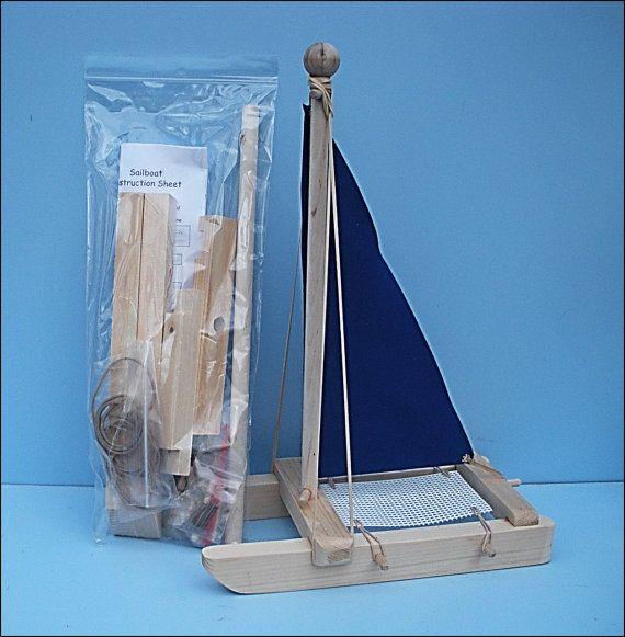 Kit de velero, barco de juguete de madera, juguete azul velero, velero, juguete, fiesta de cumpleaños, barco de madera, juguetes, bricolaje Kit, regalo de Pascua, fiesta, Kit de la piscina