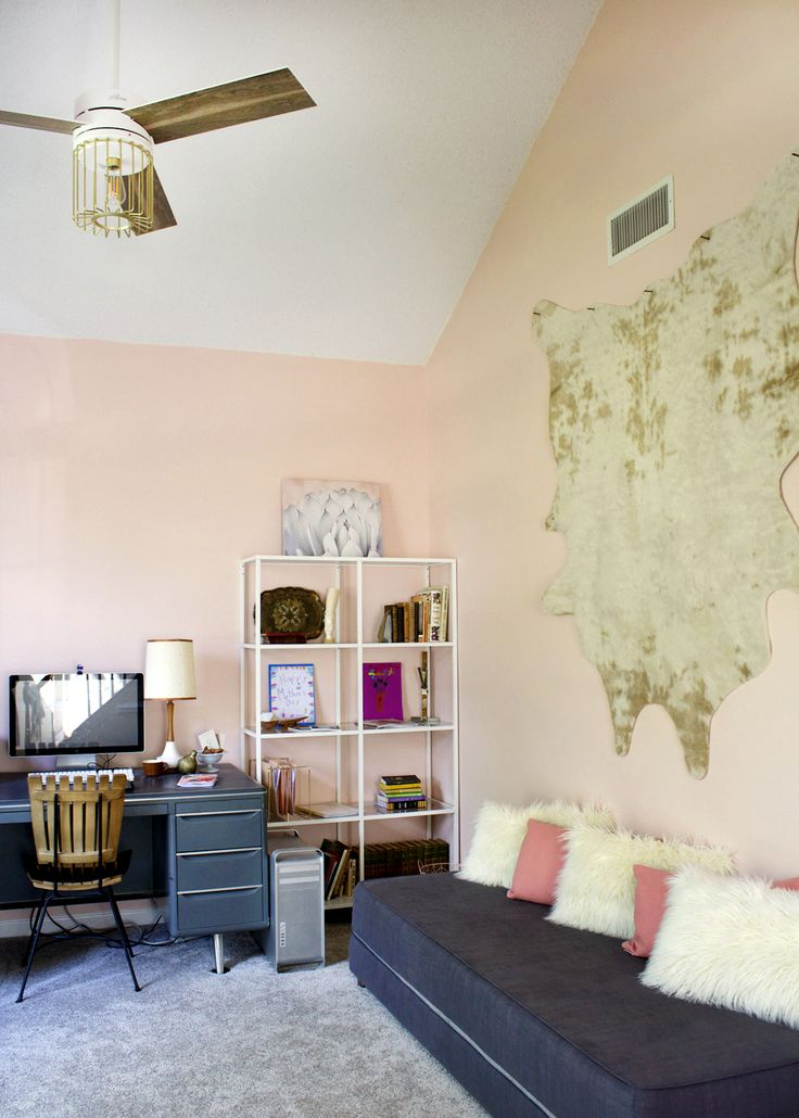 a pink home office makeover. Sherwin Williams Romance with World Market accessories