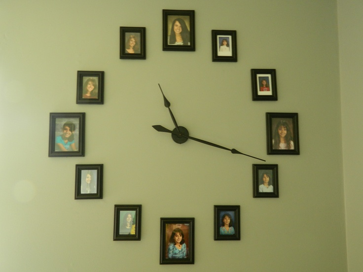 Clock from Hobby Lobby.  Frame set from Wal-Mart.  Photos from Kindergarten to Senior Year.  <3