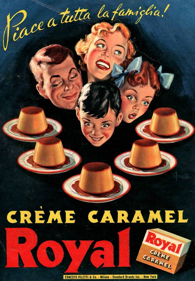 Vintage Italian Posters ~ #illustrator #Italian #posters ~ Royal Cream Caramel 1952