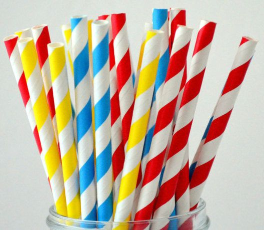 25 Paper Straws, Super Hero Pack, Little Superman Birthday Party, Red Blue and Yellow, Drinking straws, Cake pops on Etsy, $4.00