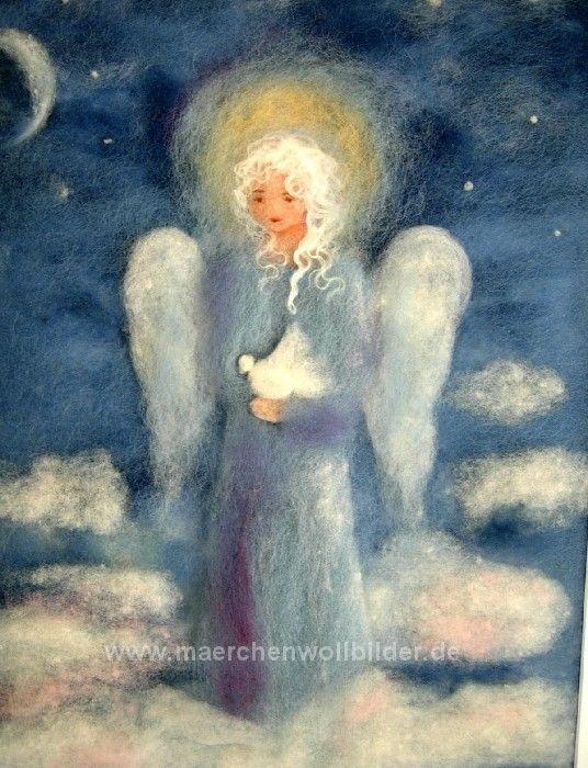 Wollbild Engel mit Taube - Schafwolle
