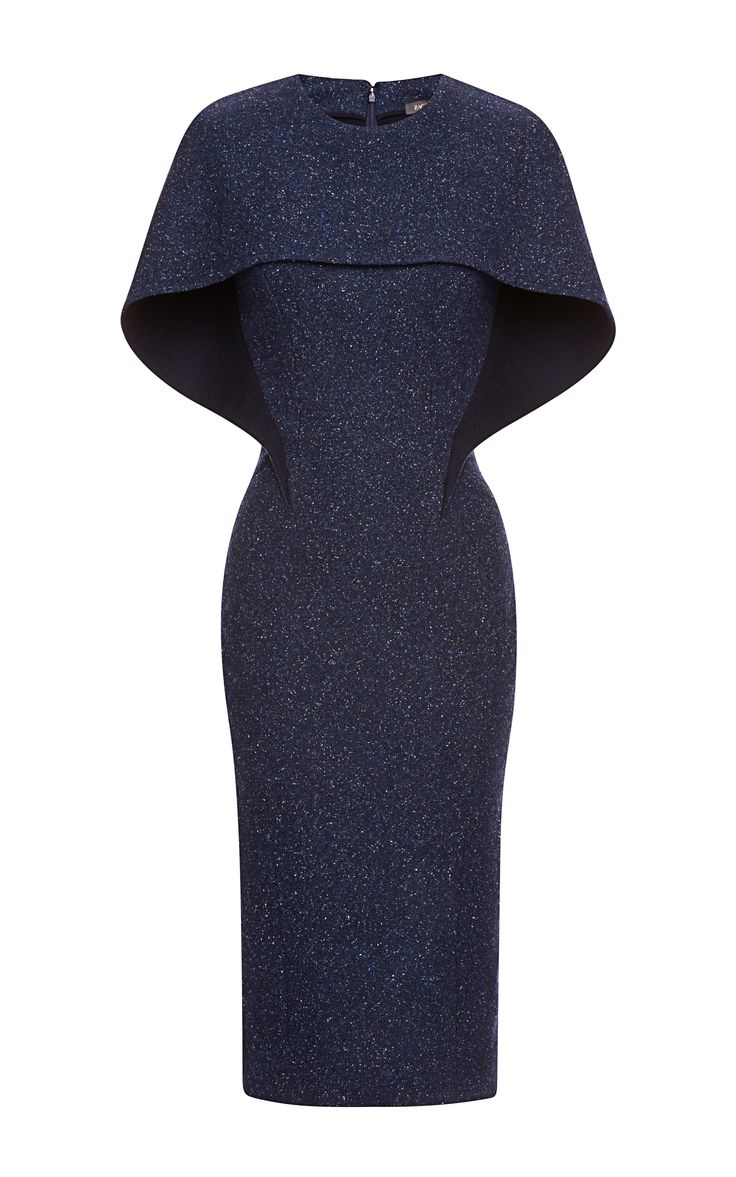 """Tweed Dress by Zac Posen - My instant reaction to this was """"oh...!"""" How unique and could have circular, unseamed capelet and underneath has seams"""