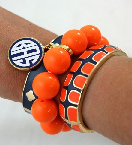 Enamel Monogram Gecko Bangle Set Navy & OrangeMonograms Geckos, Geckos Bangles, Bangles Sets, Auburn, Bracelets, Navy Orange, Wars Eagles, Arm Candies, Sets Navy