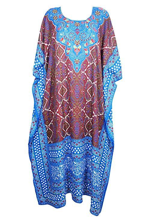 New Ladies Kaftan Print Beach Caftan Dress Womens Cover Up Tribal Beach One Size