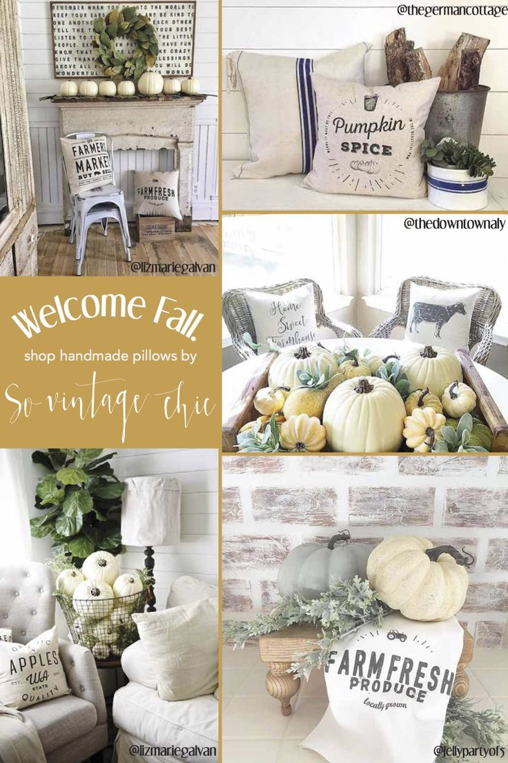 Welcome in the Fall season the right way with handmade linen pillow covers and tea towels by So Vintage Chic! This autumn-themed decor is perfect for adding style and comfort to your home. // show now at sovintagechic.com
