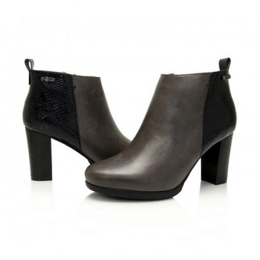 Sivá členková prechodná obuv pre dámy s čiernym vzorom na päte - fashionday.eu