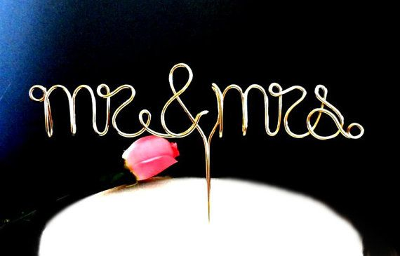 Mr & Mrs Wire Cake Topper
