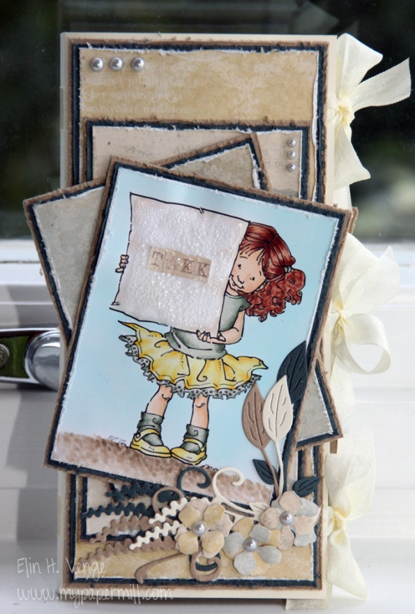Thank you card. Mo Manning image colored with Copics. Papers by Pion Design. Chocolate bar inside.