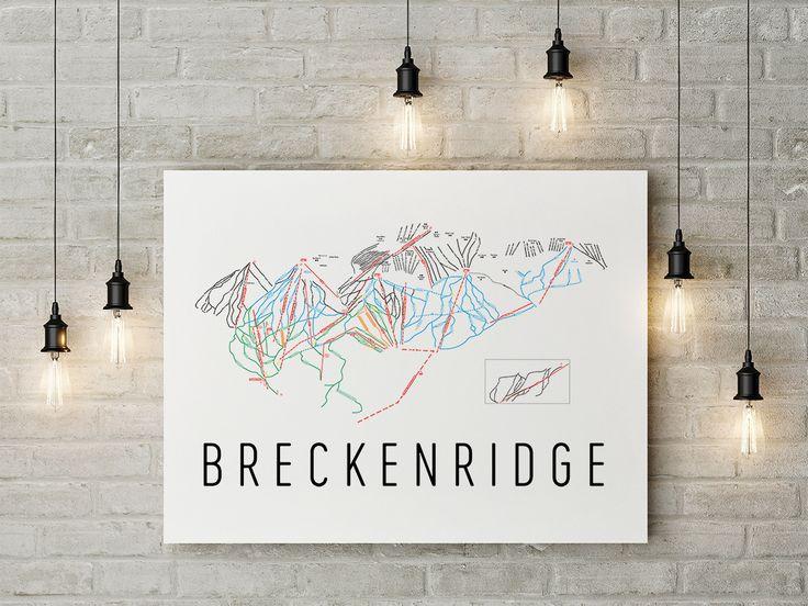 Breckenridge Ski Map Art, Trail Map, Print, Poster.