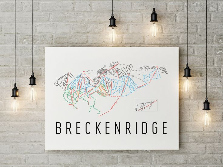 Breckenridge Ski Map Art, Trail Map, Print, Poster.
