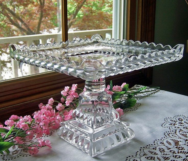 EAPG ANTIQUE GLASS PEDESTAL CAKE STAND PLATE . SQUARE . CRYSTAL WEDDING