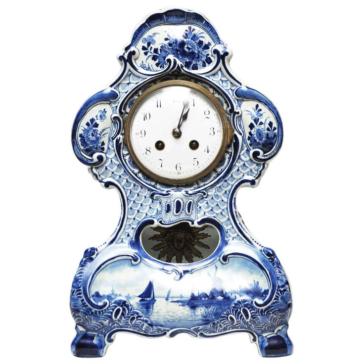 Delft Porcelain Mantel Clock   From a unique collection of antique and modern clocks at https://www.1stdibs.com/furniture/decorative-objects/clocks/