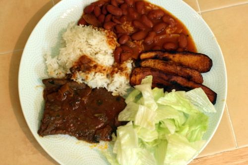 dominican national dish: la bandera! (the flag: rice, beans, salad, beef, fried plantains)