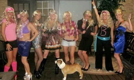 "halloween costumes for group of girls.. ""Bunch of Barbies"""