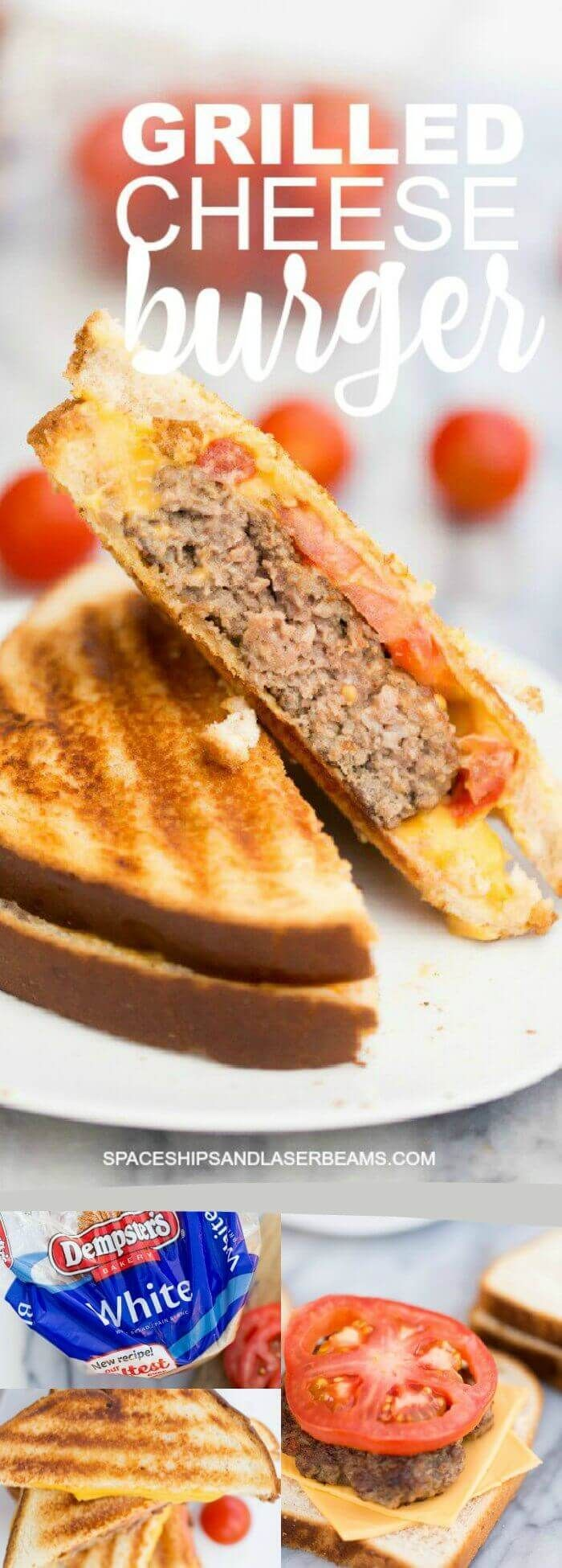 Grilled Cheese Burger Recipe via @spaceshipslb @dempsters #breadventure #NationalGrilledCheeseDay