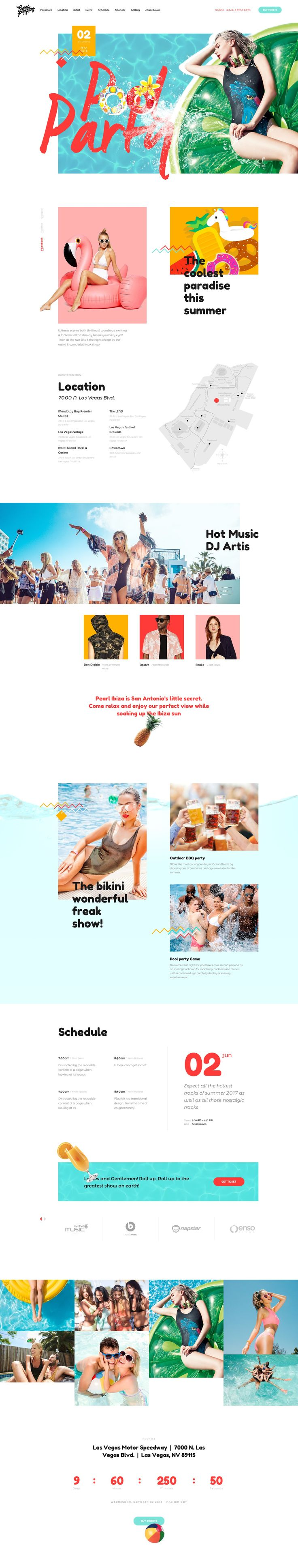 Summer Pool Party – Landing Page For Event