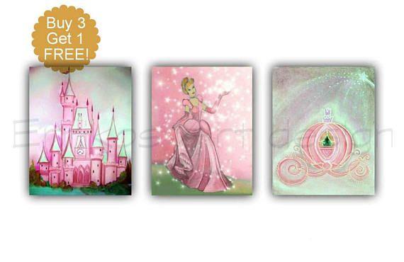Princess Cinderella Art Baby Girl Nursery Castle Coach