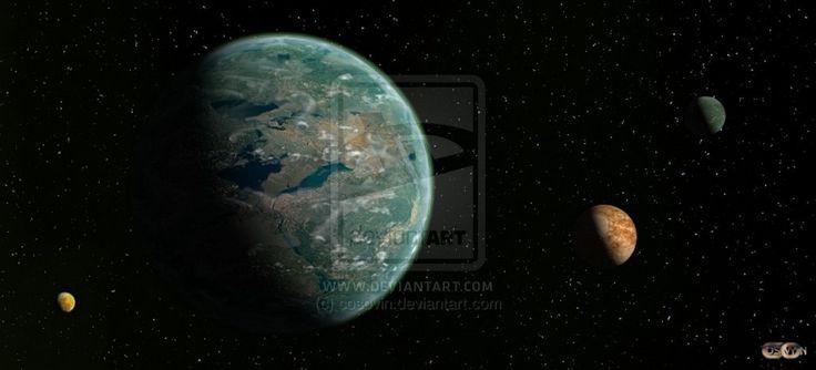 Artemis Planet with its satellites natural (1) by cosovin.deviantart.com on @DeviantArt
