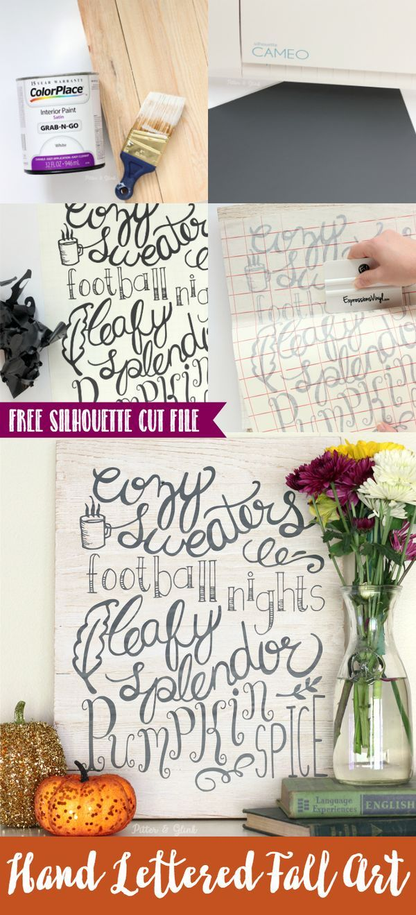 Decorate your fall mantel with this easy-to-make Hand-Lettered Fall Wall Art!  Get the FREE Silhouette cut file in post to create your own art in no time.  All you need is a painted board, vinyl, and your Silhouette Cameo to create this unique piece to add to your fall decor. |sponsored| pitterandglink.com