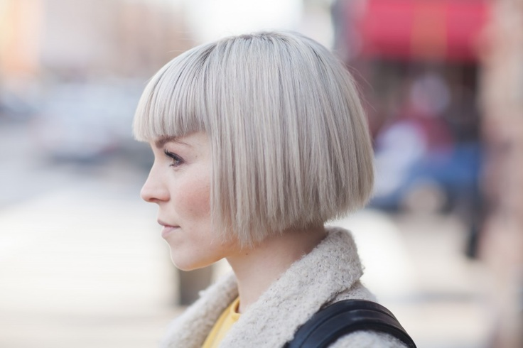 Blunt bob short hair with bangs, Not choppy at the ends like this one.