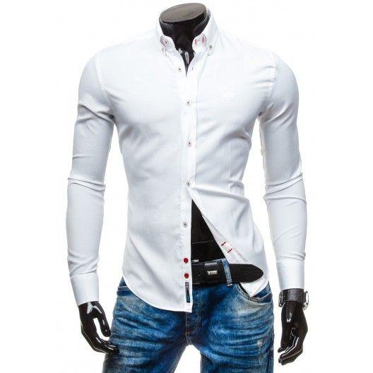 Pánske biele košele s dlhým rukávom - fashionday.eu