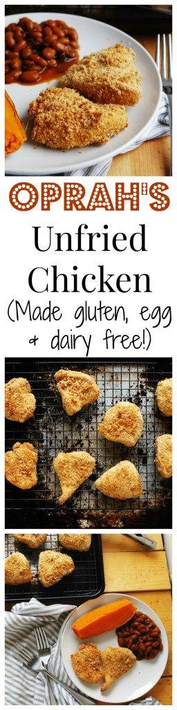 Oprah's Unfried Chicken–Made Allergy-friendly! (Gluten, dairy, egg, soy, peanut & tree nut free; top-8-free) by AllergyAwesomeness  |gluten-free unfried chicken| |dairy-free unfried chicken| |egg-free unfried chicken| |top 8 free unfried chicken| |baked fried chicken| |art smith chicken recipe| |oprah unfried chicken recipe| |allergy-friendly chicken recipe| |allergy-friendly chicken dinner|