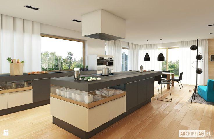 Projekt domu Neo G1 ENERGO - wizualizacja kuchni - zdjęcie od Pracownia Projektowa ARCHIPELAG - Kuchnia - Styl Nowoczesny - Pracownia Projektowa ARCHIPELAG